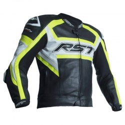 RST Tractech Evo R CE Leather Jacket - Black/Flu Yellow