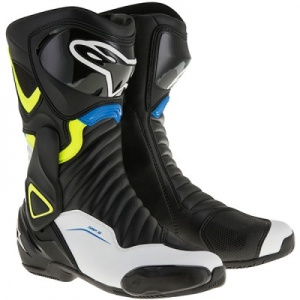 Alpinestars SMX 6 v2 Boot - Black White Yellow Fluo & Blue
