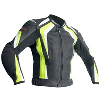 RST R-18 CE Leather Jacket - Black/Flu Yellow