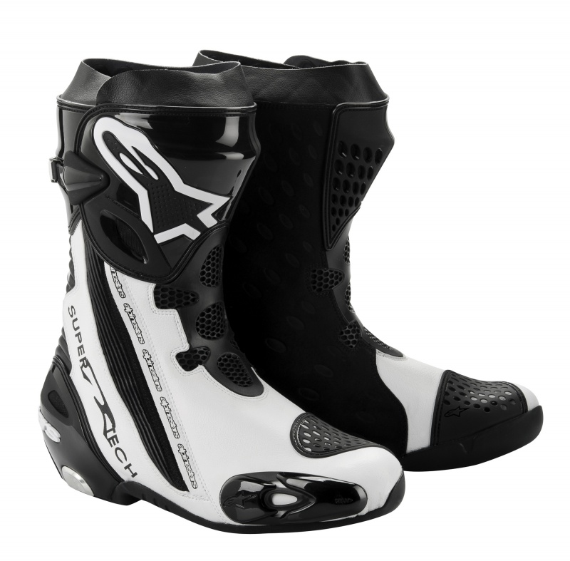 alpinestars supertech r boots black white module moto. Black Bedroom Furniture Sets. Home Design Ideas