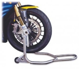 HARRIS NEW GENERATION FRONT UNDER FORK UNIVERSAL STAINLESS STEEL PADDOCK STAND LOCATES UNDER EACH FORK LEG