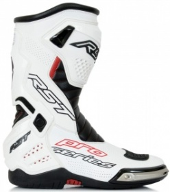 RST PRO SERIES Race Boot - White/Black - FREE Spare Toe Sliders
