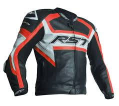 RST Tractech Evo R CE Leather Jacket - Black/Flu Red