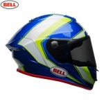 Bell Street 2018 Race Star Helmet - Sector White/Hi-Viz Green/Blue