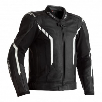 RST AXIS CE MENS LEATHER JACKET - BLACK, BLACK AND WHITE