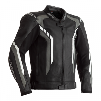 RST AXIS CE MENS LEATHER JACKET - GREY, BLACK AND WHITE