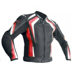 RST R-18 CE Leather Jacket - Black/Red